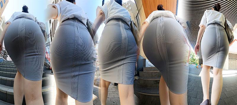 【尻HD】お姉さんの「めちゃデカ尻」に「ピタァ~」って張り付くグレーのタイスカ!
