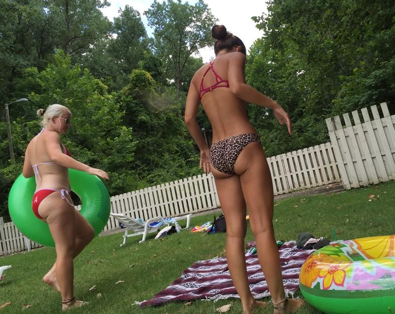 backyard picnic girl in sexy bikini