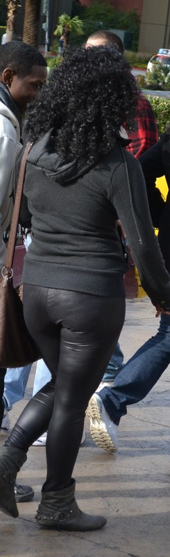 awesome african lady in tight leather pants