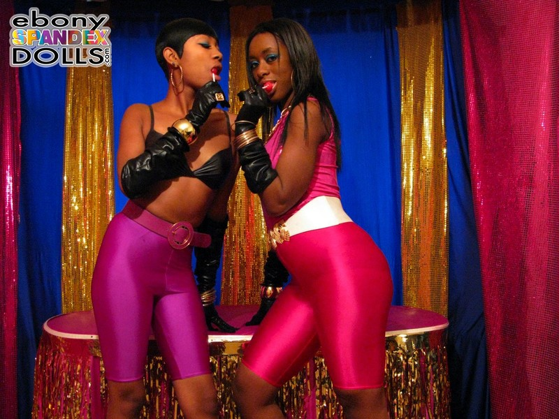 lesbian ebony girls in kinky spandex shorts