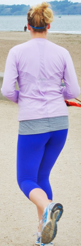 jogger milf in sexy blue leggings