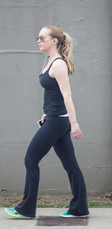 stylish young lady in yogapants