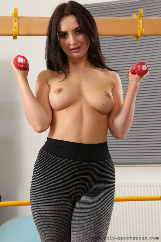 horny fitness instructor Gina B in naughty spandex outfit