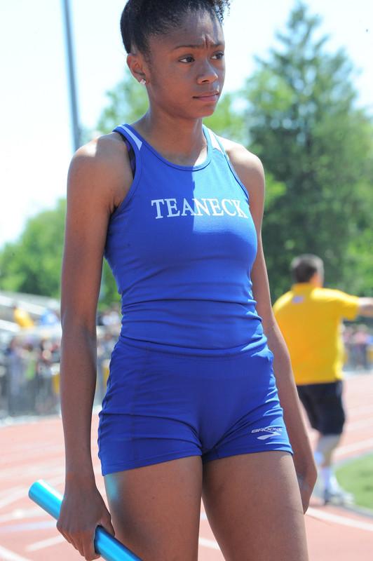 african gymnast babe in blue uniform
