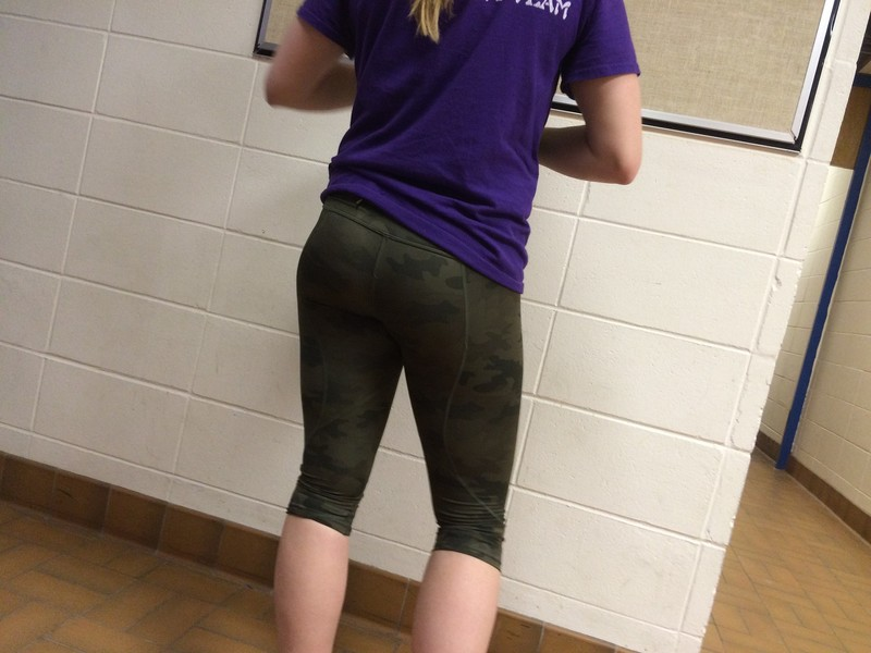 handsome booty in camouflage leggings